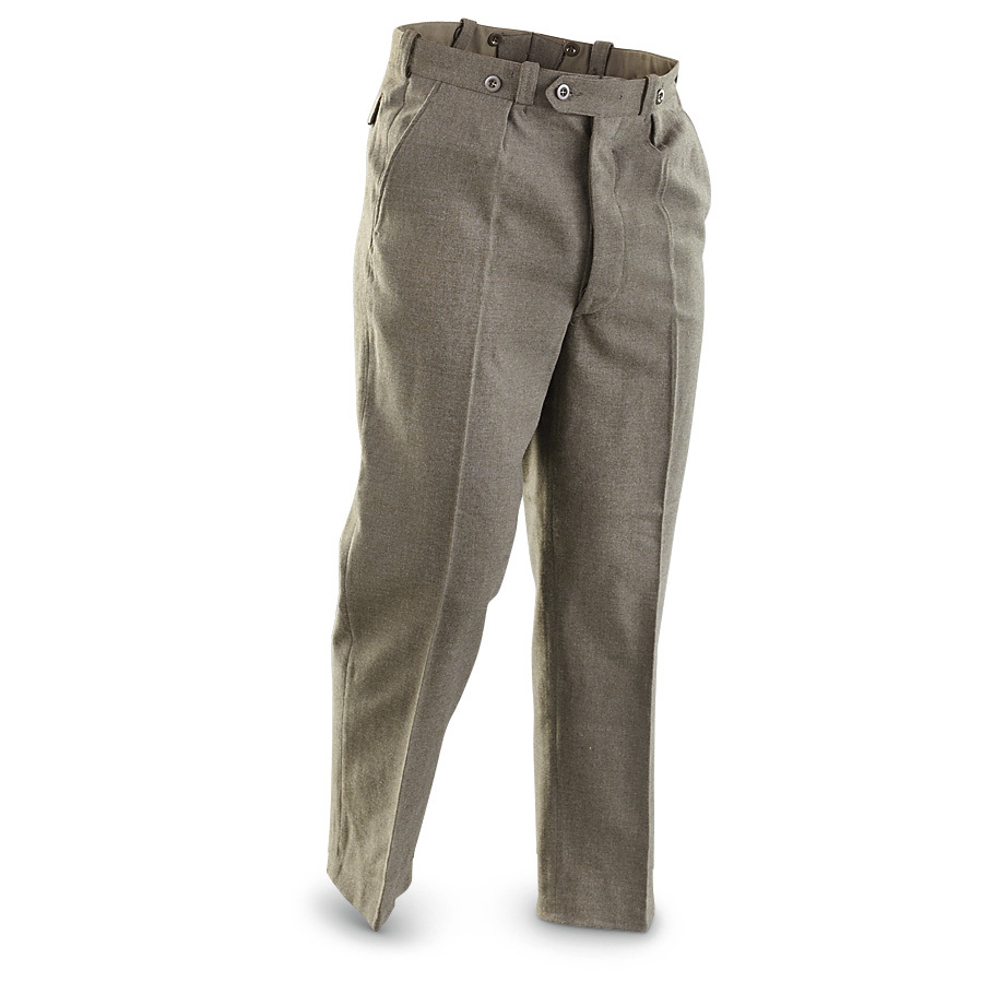 2 like-new Belgian Military Surplus Wool-blend Pants. Genuine uniform britches look sharp. And they feel comfortable. Nab a great price on 2 pairs of good-looking, well-made wool-blend Pants. Olive Drab wool-blend twill fabric Button fly Belt loops and suspender buttons 2 front slash pockets Single rear pocket with button flap Pleated front adds style Imported. Condition: used, in like-new shape. State Size, as available in the Shopping Cart. Order today!Please note: Styles may vary, sorry no choice.!!! Limited Quantities !!! - $17.99