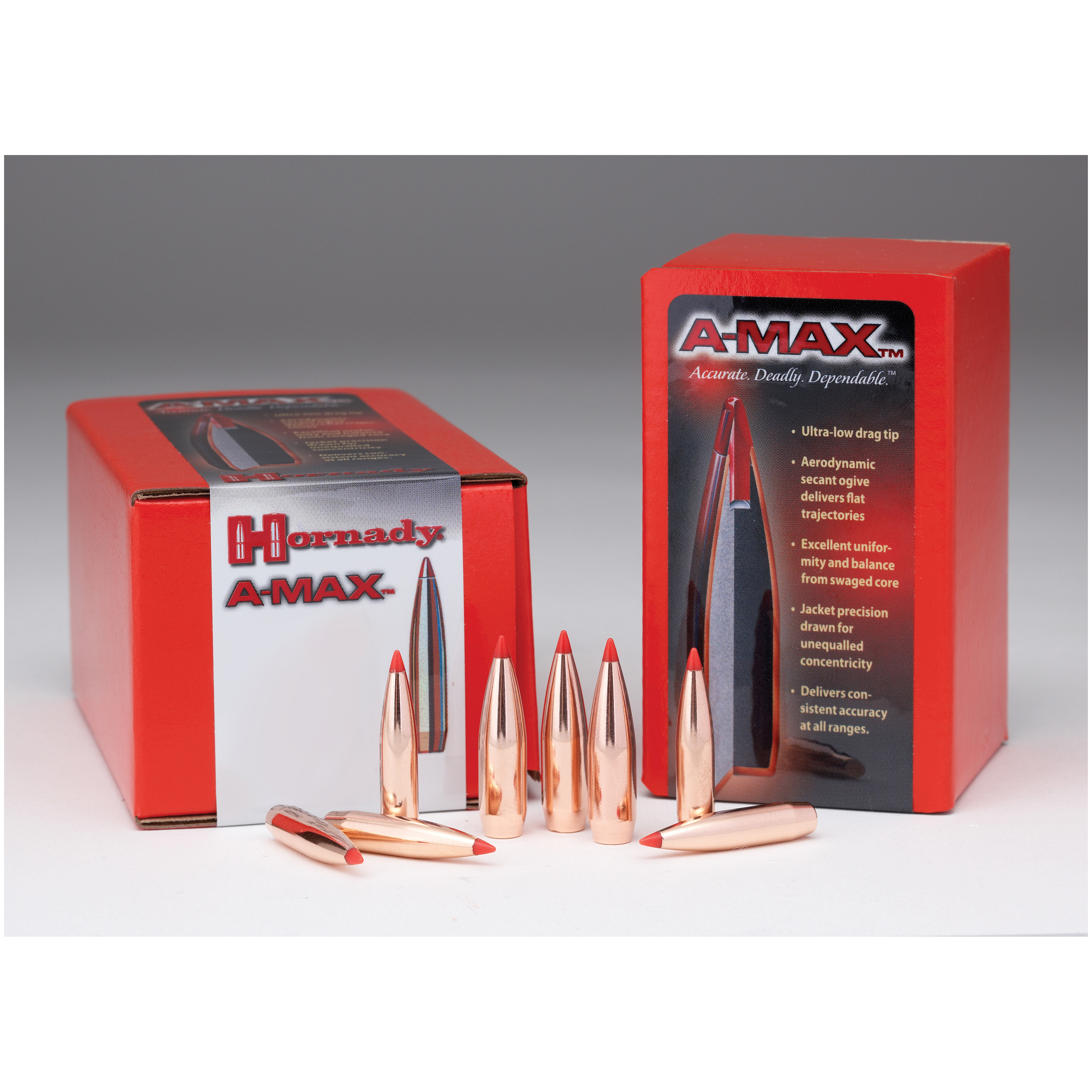 100-Pk. of Hornady .22 Caliber 72 Grain A-MAX Bullets provide consistent, tight groups every time! Low drag and flatter trajectories. Designed for match shooters, these Hornady .22 Caliber 72-grain A-MAX Bullets provide consistent, tight groups every time. The aerodynamic secant ogive profile, sharp pointed tip and unequaled concentricity of the A-MAX design give 'em an extremely high ballistic coefficient for near in-flight perfection.Features:Rapid, explosive expansion with limited penetration Incredibly accurate Flat trajectory 72 Grain weight 100 bullets per box. - $24.99