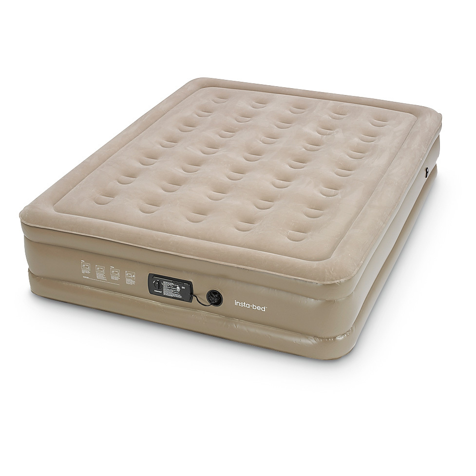"Insta-Bed Queen Double-high Air Mattress. Always a place to bunk! PRICED LOW! Unexpected overnight guests are no problem at all! Insta-Bed gives you quality support and sweet dreams you can deploy in a hurry, thanks to a built-in electric air pump. Easy to take along on sleepovers and more. Plus, you save BIG thanks to our Close-Out buy!Kick back and relax:Double-high raised sleeping surface Welded airtight seal Comfortable suede textured top keeps bedding in place Internal AC pump with electric cord inflates fast and easy Indoor use only Includes carry bag Measures 78 x 60 x 15""h., weighs 18 lbs. - $59.99"