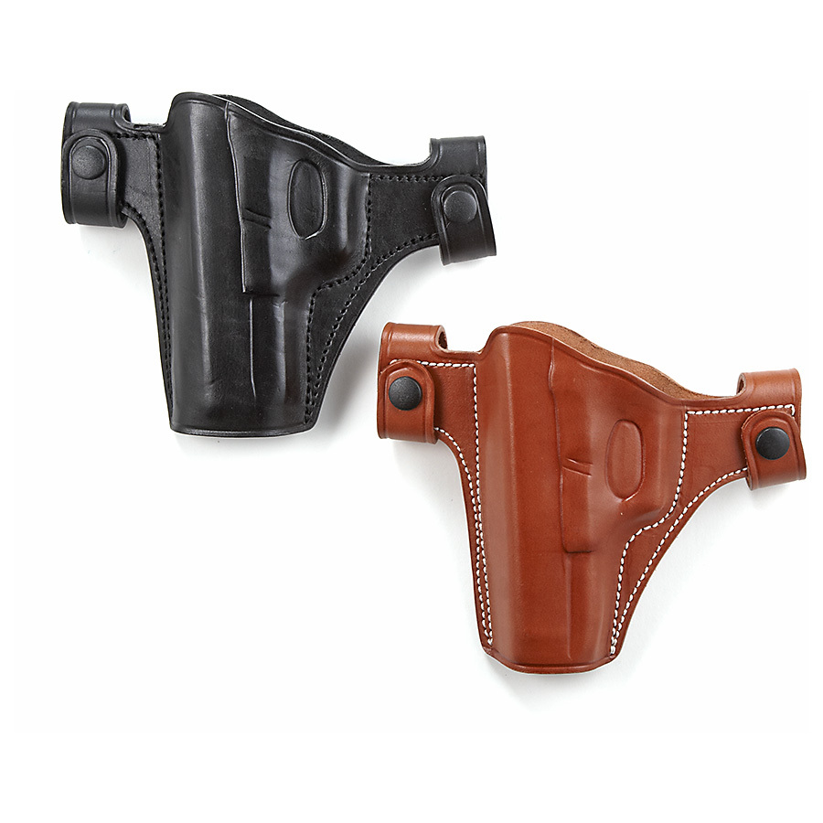 "Cebeci Leather Snap Holster. Snaps quickly on / off belt Cowhide leather Open muzzle Combat gripFits belts up to 1 1/2""w.State Hand and Color, as available in the Shopping Cart. Act Now! - $29.99"