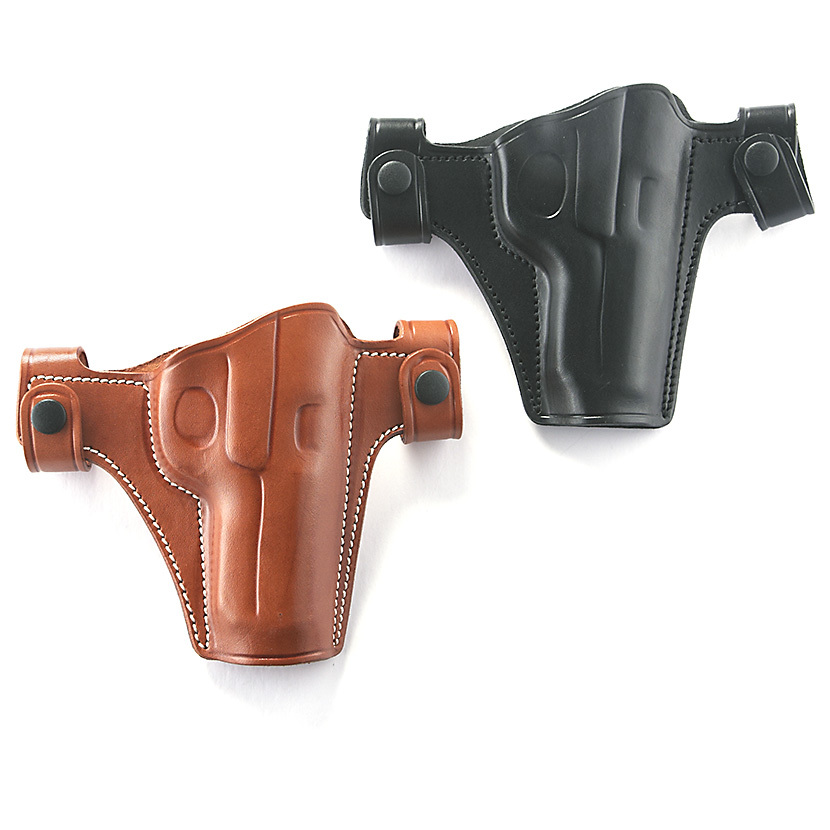 "Cebeci Leather Snap Holsters. Snaps quickly on / off belt Cowhide leather Open muzzle Combat gripFits belts up to 1 1/2""w.State Hand and Color, as available in the Shopping Cart. Act Now! - $29.99"