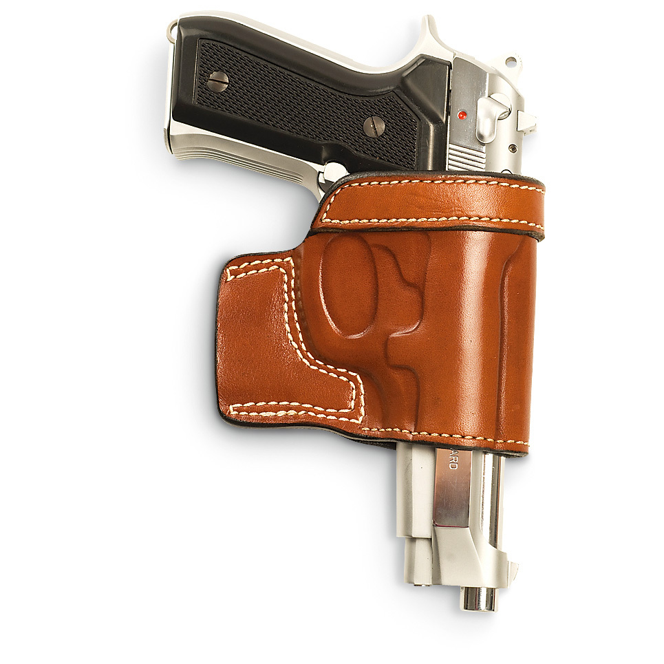"Cebeci Arms Leather Speed Holster. Cowhide leather Suede lining Precision molded for a specific fit Open muzzle Combat grip Fits belts up to 1 1/2""w. State Hand and Color, as available in the Shopping Cart. Order yours today! - $29.99"