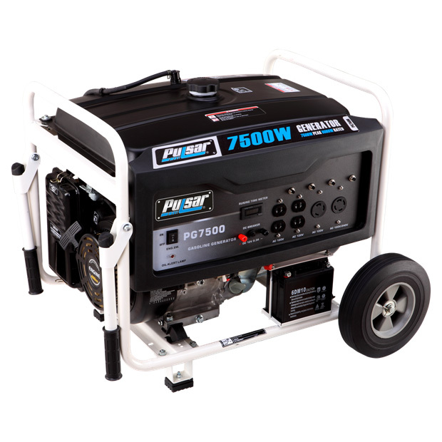 "Pulsar Gas Peak 7,500 Watt Generator. Portable power for power outages and campsites! Be prepared! This heavy-duty Pulsar Gas-powered Generator pumps out an amazing 7,500 watts of peak power... more than enough built-in capacity to back up your home's essential systems during power outages or emergencies. But that's not all this bad boy can do. Need a little juice for your campsite, lodge, or cabin? No problem! Tired of running extension cords all over your worksite? Here's your solution! Whether you need it for backup or portable power, this Generator is sure to fit the bill.Features:15HP OHV single cylinder 4-stroke air-cooled engine Runs on gasoline Four 120V outlets One 120 / 240V twist lock outlet 12V DC output One 120V twist lock outlet Recoil start with electric push start 3 into 1 digital meter Max output: 7,500 watts / 60 Hz Rated output: 6,000 watts / 60 Hz 6.6-gallon fuel tank with fuel gauge Full load fuel consumption (gallons / hour): 0.75 Run time at 50% load (hours / tank): 13 Automatic voltage regulation Hours and volt meter Automatic low oil shutoff Overload protection 120V rated amps: 50 120V peak amps: 62.5 240V rated amps: 25 240V peak amps: 31 4 circuits 420cc engine displacement EPA approved 74 dB operational volume Measures 27 x 22 1/2 x 21 1/2""h., weighs 185 lbs.Please Note: Gas and diesel-powered items once gassed or oiled, cannot be returned to us. The manufacturer will require the customer to visit a qualified service center for inspection. This item is shipped by commercial carrier curbside. This product Ships in 1 Box, Measures 30""l. x 29w. x 28""h., and Weighs approx. 210 lbs. No expedited delivery. High-value orders require a physical street address, otherwise insurance costs will be added to the shipping total. - $999.99"