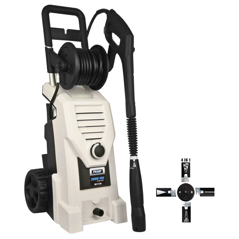 Pulsar 2,000 PSI Electrical Pressure Washer makes even the toughest cleaning jobs easier. Easy to move, a pleasure to clean! Tough, hard-to-clean, dirty jobs are no more with this Pulsar 2,000 PSI Electrical Pressure Washer. Easily clean grime, dirt and crud off your driveway, deck, car, and home exterior. Rolling cart-style wheels make transport a snap, moving this unit easily between your garage and wherever you need to clean. Perfect for the home, shop or cabin.Features:Max rated pressure: 2,800 PSI Rated flow: 1.6 G.P.M. 25' high-pressure hose gives you plenty of room to maneuver Sprayer with adjustable nozzle Aluminum handle for easy portability Soap bottle 35' UL-approved power cord 2-way hose connector Hose reel for easy storage Weighs 26 lbs. - $249.99