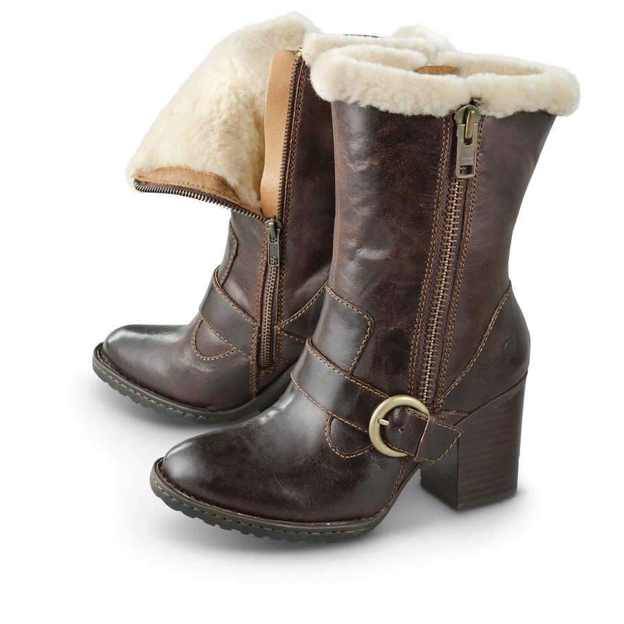 "Women's Born Rhoslyn Casual Boots... cute, casual style for when winter comes calling. These stylish Casual Boots are lined with soft shearling for extra warmth in the cold. And for a little extra wintry style, the shearling peeks up over the top of the Boot. Wear your pair with skinny jeans or leggings for a fashion-forward winter look! And don't worry, just because these Boots look great doesn't mean they're going to pinch your feet and make you miserable. These Rhoslyn Boots were made by Born, which means they were made to be great looking, long-wearing and incredibly comfortable. Comfort, warmth and style, all in one! Full-grain leather uppers with a decorative buckle Dual side zippers Rubber outsole for traction when it's slick Soft, warm shearling lining Cushioned footbed Steel shank Opanka hand-sewn construction for flexibility Steel shank for stability Each approx. 11""h., 20 ozs. State Size, as available in the Shopping Cart. Stay stylish this cold season!!!! Limited Quantities !!! - $79.99"