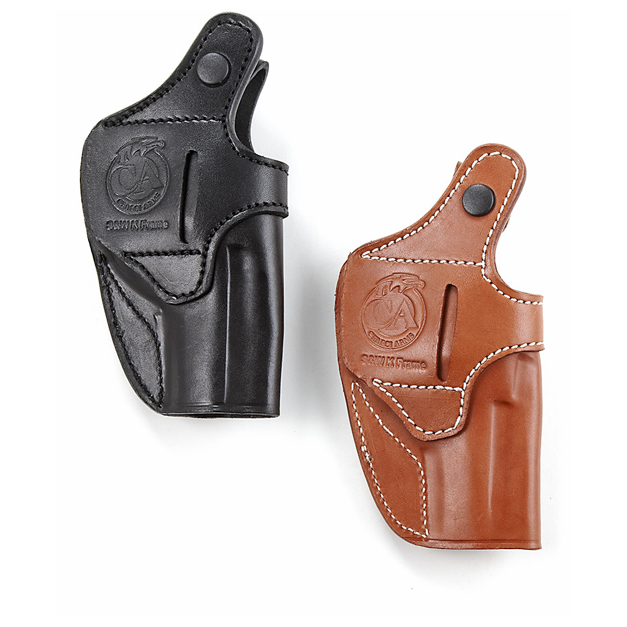 "Cebeci Top-grain Leather Holsters. Engineered for deep concealment. For those who prefer to keep it ""close to the vest."" Cebeci Holsters are hand-fitted to form a perfect match with specific handguns.Cowhide leather with suede lining Reinforced thumb break, snap closureComes with a belt clip.State Hand and Color, as available in the Shopping Cart. Order yours now! - $29.99"