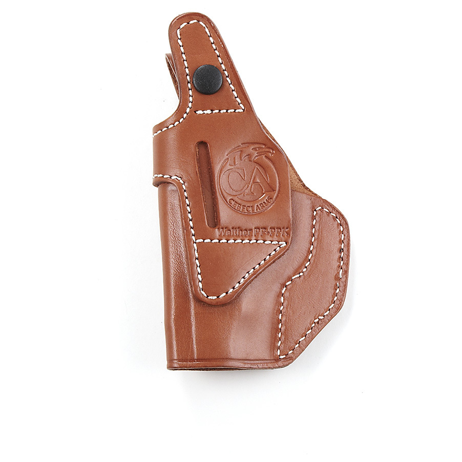"Cebeci Top-grain Leather Holsters. Engineered for deep concealment. For those who prefer to keep it ""close to the vest."" Cebeci Holsters are hand-fitted to form a perfect match with specific handguns.Cowhide leather with suede lining Reinforced thumb break, snap closure. IWB (Inside the waistband) designComes with a belt clip.State Hand and Color, as available in the Shopping Cart. Order yours now! - $29.99"