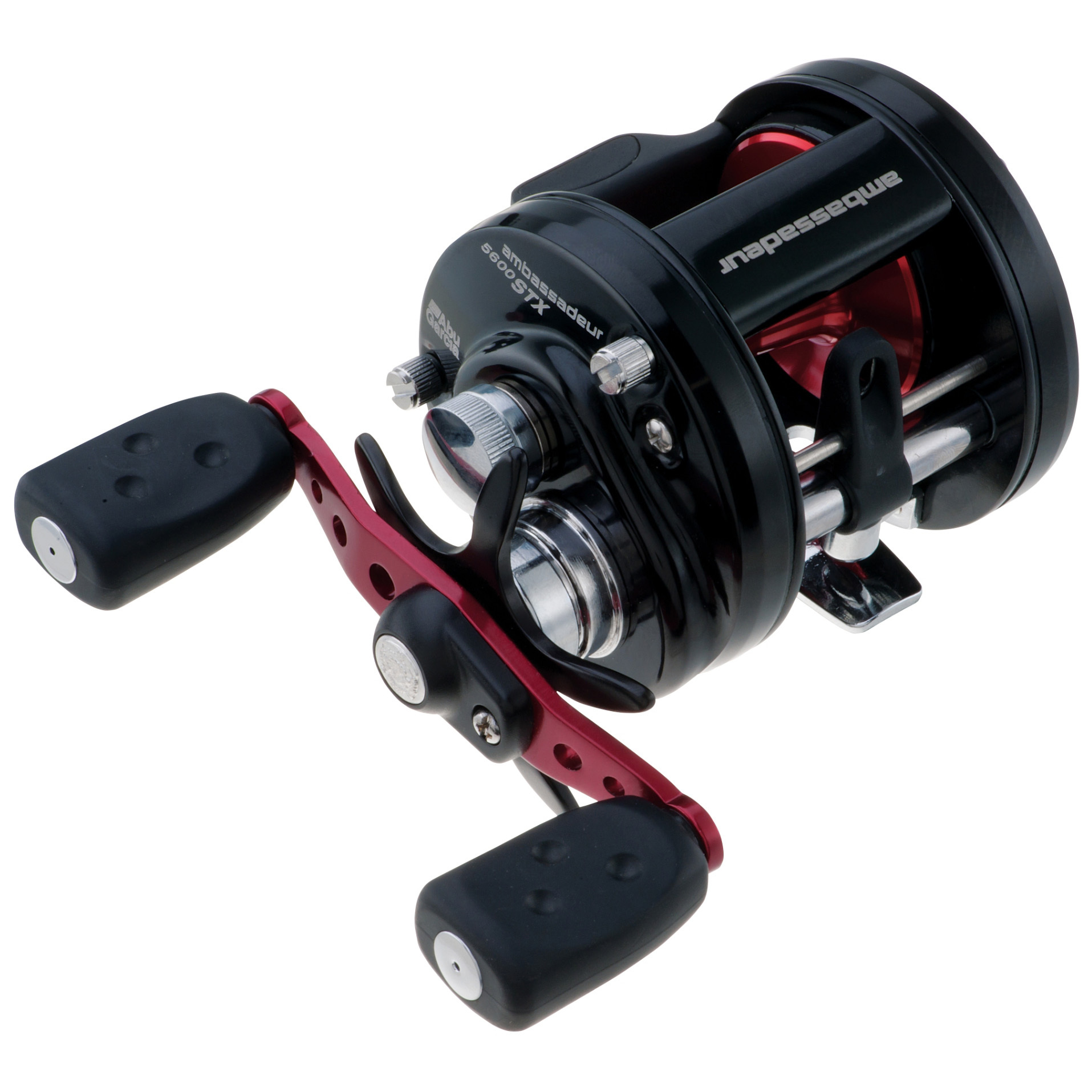 Abu Garcia Ambassadeur STX Round Baitcasting Reel. Exceptional performance for the round reel enthusiast. If you know the Ambassadeur series of reels, you know they represent quality, dependability and value. Dig a little deeper, and you'll find even more good stuff... like a 6-pin brake system that lets you dial in any bait or weather for perfect casts. Or the compact bent handle and star drag that make it both comfortable and powerful. Or... well, you get the picture.Finer points:4 stainless steel ball bearings + 1 roller bearing provides smooth operation Multi-disc drag system gives smooth drag performance 6-pin centrifugal brake gives consistent brake pressure throughout the cast Synchronized level wind system improves line lay and castability Compact bent handle and star provide a more ergonomic design 5.9:1 gear ratio 12 lbs. max. drag.AMBSTX-5600:Line capacity: 14 lb. / 230 yds. Weighs 10 3/4 ozs.AMBSTX-6600:Line capacity: 17 lb. / 255 yds. Weighs 11 1/2 ozs.State Model, as available in the Shopping Cart. - $99.95