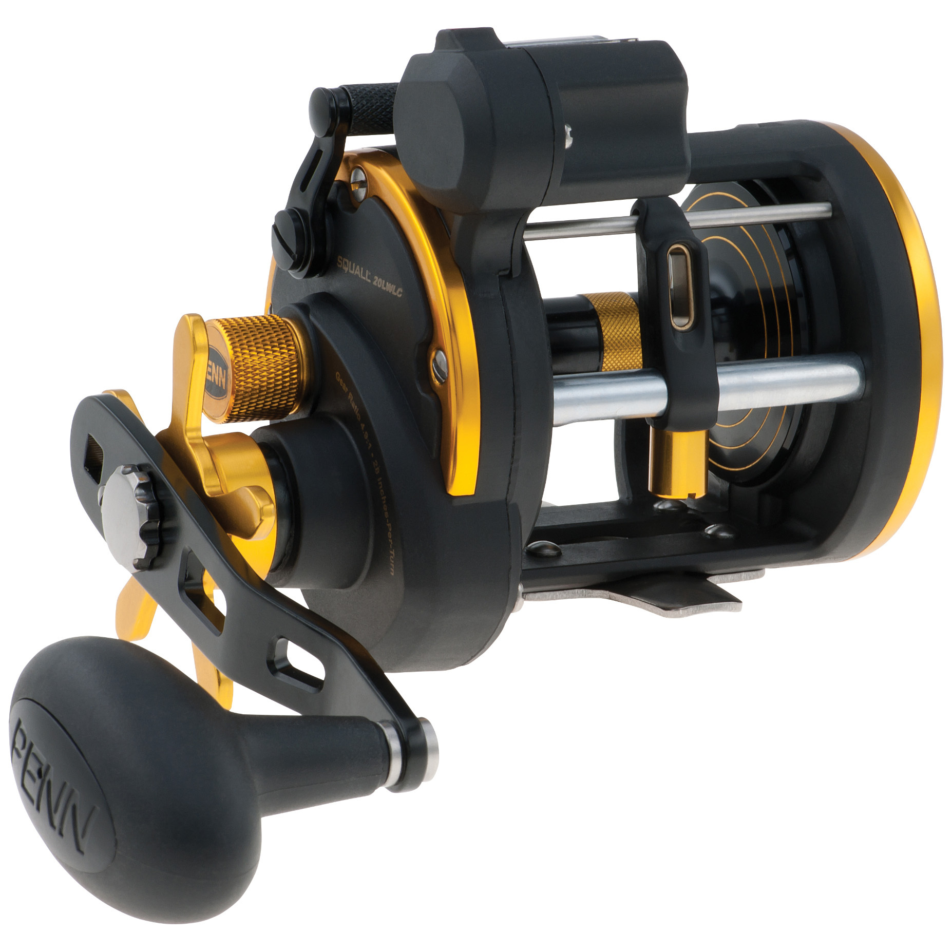 Penn Squall Level Wind Left Handed Baitcasting Reel. Call it a force of nature. The Squall's heavy-duty construction makes it a real workhorse and favorite of charter boat captains and hard-fishing anglers everywhere. It is designed to handle extreme abuse day-in and day-out... so whether you're bottom-fishing or casting live bait, the Squall will stand up to the hardest fishing conditions.The perfect storm:2 ball bearings + 1 roller bearing Line capacity rings eliminate the question of how much line you have left when fighting a fish. The three lines on the spool flange let you know when you have 1/3, 2/3, or a full spool of line Strong-but-light graphite frame and sideplates High-strength, marine-grade bronze alloy main gear Forged and machined aluminum spool Instant anti-reverse bearing with silent back-up ratchet Stainless steel pinion gear 4.9:1 gear ratio Line capacity: 415 yds. / 17 lb., 315 yds. / 20 lb., 290 yds. / 25 lb. Weighs 17 3/4 ozs. - $129.95