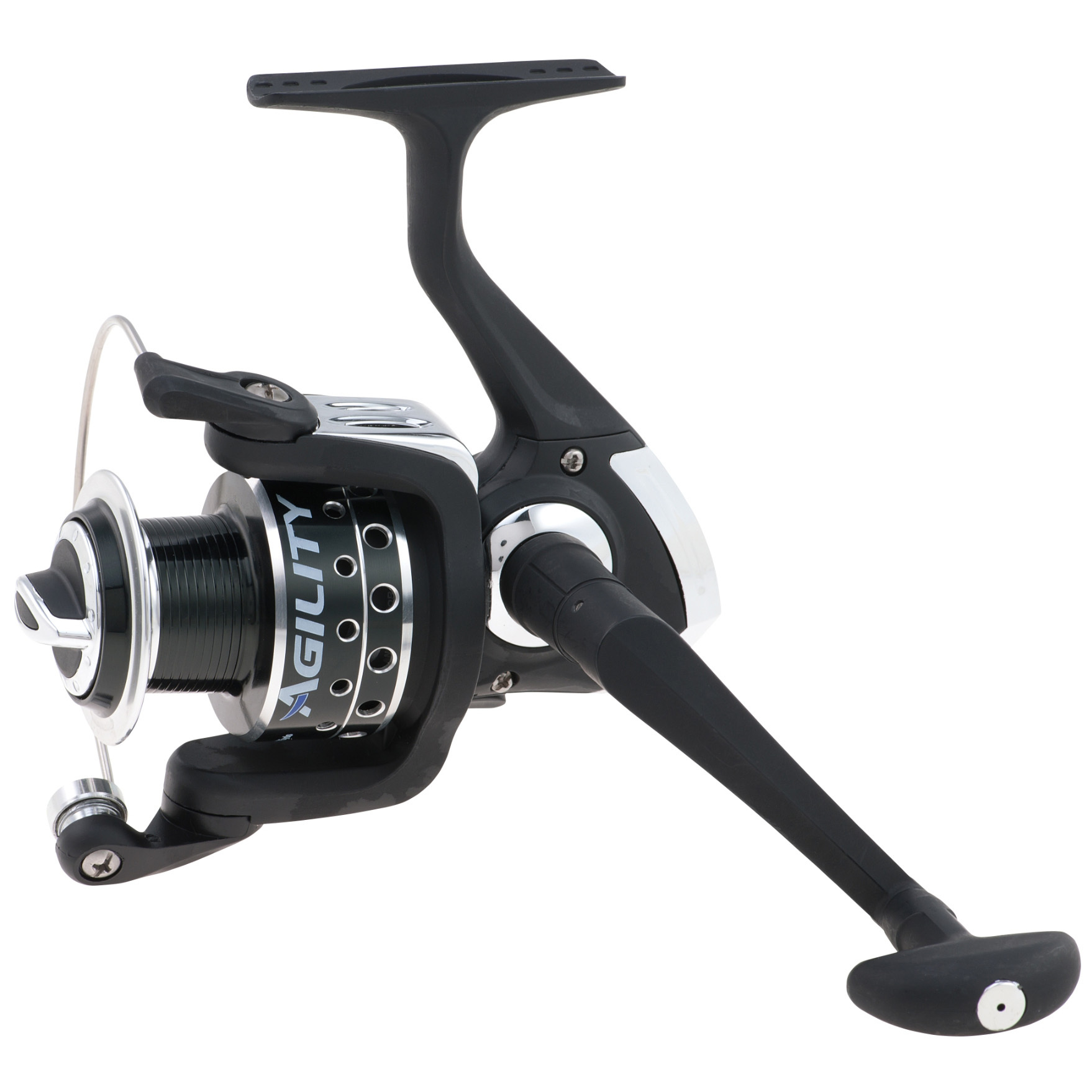 Shakespeare Agility Spinning Reel. Great looks, great performance for an extra-great low price. Can't beat the value on smooth 4BB + 1RB smooth performance, commanding multi-disk drag system, and lots more:4 ball bearings for smooth performance Anti-reverse bearing for solid hooksets Machined and anodized aluminum spool Configurable for right or left-hand retrieve Multi-disk drag system for fight control Ported spool for lightweight feel 5.2:1 gear ratio.AG25X:Size 25 Mono line capacity (yds. / lb.): 200/2, 120/4, 90/6.AG30X:Size 30 Mono line capacity (yds. / lb.): 190/4, 140/6, 110/8.AG35X:Size 35 Mono line capacity (yds. / lb.): 240/6, 200/8, 175/10.AG40X:Size 40 Mono line capacity (yds. / lb.): 240/8, 210/10, 175/12.State Model, as available in the Shopping Cart. - $24.99