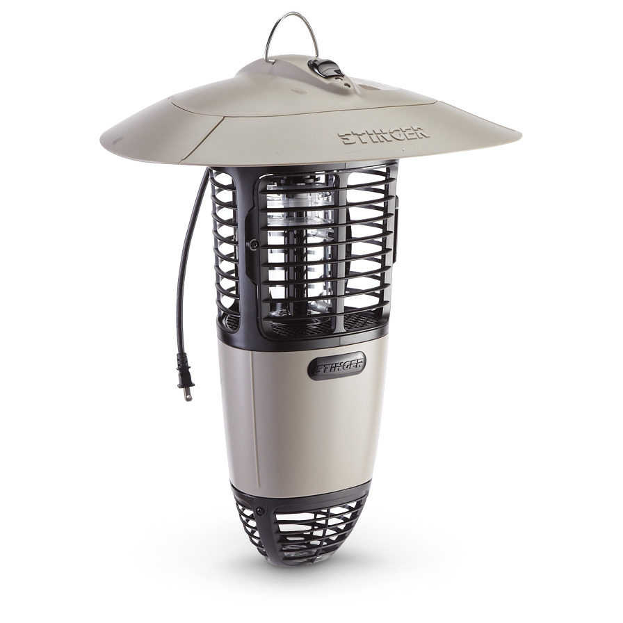 "Stinger 1/2-acre Mosquito Zapper traps 'em and zaps 'em to keep you pest free! PRICED LOW! Sitting out on the patio shouldn't be a bother. And this Mosquito Killer helps eliminate unwanted company, so you and your guests can enjoy a BBQ without hellacious buzzing. This simple, effective machine uses a variety of baits and lures to draw mosquitoes in and take 'em out. Works like a charm, too... just plug it in at the beginning of the season, and the attractants bring mosquitoes in close where a powerful fan draws them into a quiet, hidden electric grid. Best of all, you won't hear a peep from this bad boy... no annoying ""zapping"" sounds as bugs fall silently through the open base to the ground. Thanks to our Close-Out buy, you save BIG!Features:Simply hang the Mosquito Killer in a shady spot where mosquitoes live and breed, and leave it up all season to reduce populations Should be positioned away from human activity so skeeters don't go after you Comes with a 30-day supply of NOsquito 2-in-1 power bait... attracts a broad variety of species, including those that may carry West Nile Virus and E. Equine Encephalitis. Measures 8 x 19"" h., weighs 10 lbs., 7 ozs. - $76.99"