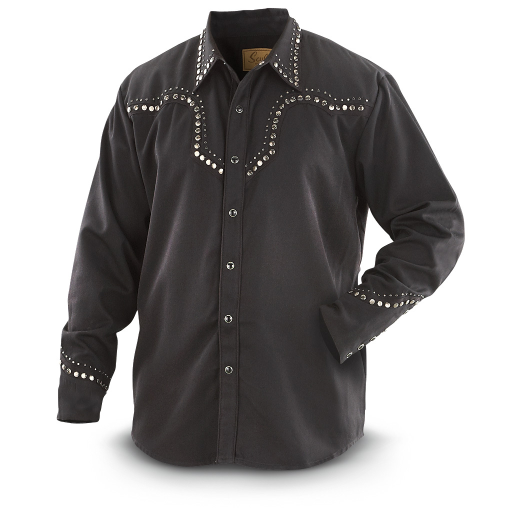 Scully Star Stud Yoke Shirt is the perfect fit for your true Western style! They should play theme music when you walk in the bar wearing this Shirt. Cowboy, this is about as real as a Western Shirt gets. Sure you get your pearl snap front and cuffs, but what makes this Shirt stand out are the small rivets and embossed star studs on the yoke, cuffs and collar... yes, the collar! Oh, since it's a 65/35 polyester / rayon blend, you can machine wash it but be sure to hang dry! Imported.State Size, as available in the Shopping Cart. - $49.99
