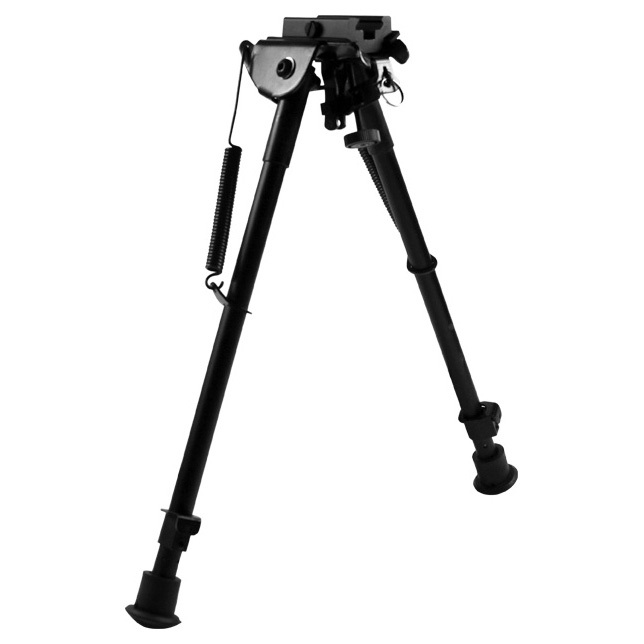 "AIM Sports 10"" H-Style Spring Tension Bipod / Large provides excellent height and stability. Enhance your accuracy with this 10"" H-Style Spring Tension Bipod. It mounts directly to a sling swivel stud and has spring-loaded, telescoping legs that adjust quickly from 11-1/2"" to 20"" high.Look at this:Made of aluminum and high carbon steel Weaver / Picatinny 1913 rail mount Won't change zero Black hard anodized finish Weighs 18 ozs. - $39.99"