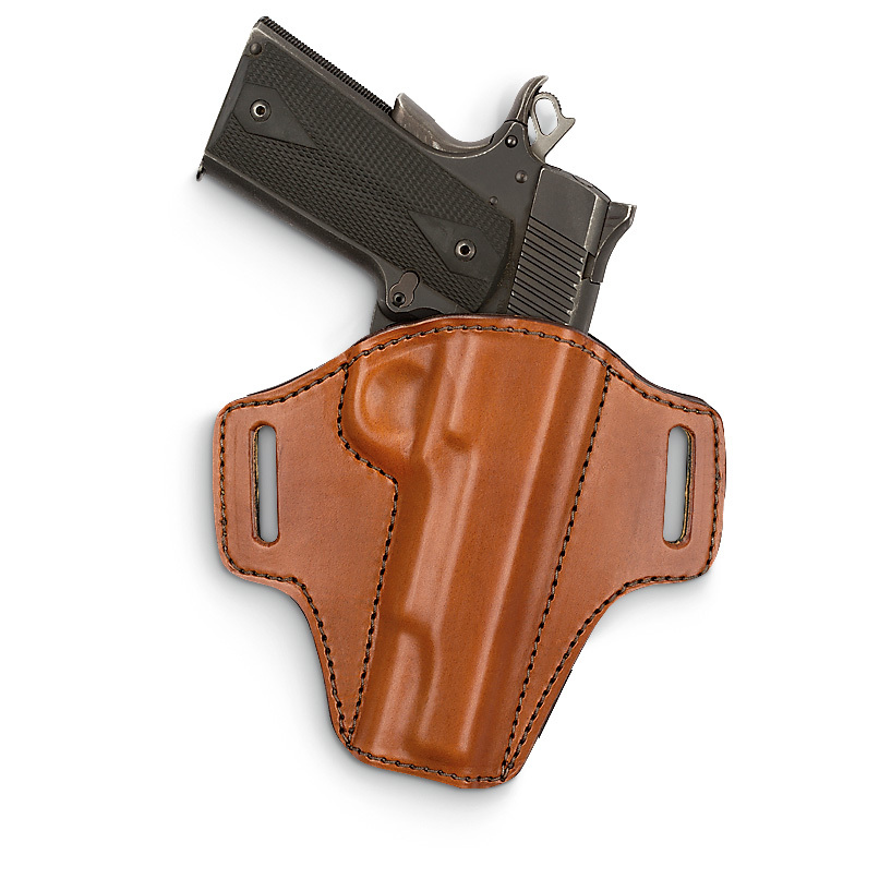 "Bianchi Allusion Model 126 Assent Holsters. Open-top, low-profile, body-hugging design Made from premium vegetable-tanned leather, wrapped and laminated around a thermo-molded synthetic core Formed trigger guard detent for secure retention Fits 1 1/2"" belts Your choice Black or Tan Right hand only. State Color, as available in the Shopping Cart. Order Now! - $49.99"