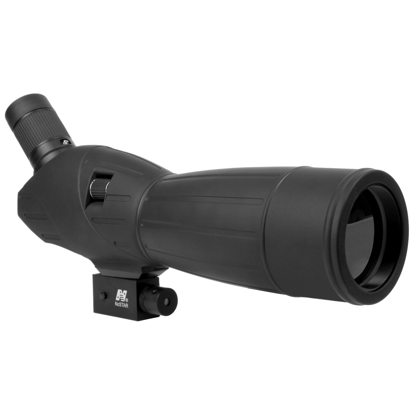 "NcSTAR 20-60x60mm Spotting Scope with Tripod and Laser gets you up close and personal with nature and targets, skip the aiming hassles! Pull in the farthest sites with ease! The NcSTAR 20-60x60mm Spotting Scope with Tripod and Laser is your passport to a world of up-close, eye-opening encounters! With a high-quality, precision-ground multi-coated lens for clear and crisp images and the added bonus of an adjustable laser beam to give you a reference point for easier spotting, it's ideal for hunting, bird watching or just getting a better view of nature's beauty. And you get it all for an awesomely affordable price... what a score!ZOOM in for a closer look:Powerful 20-60X zoom capability brings you incredible detail Light-drinking 60mm objective gives bright picture even in low light... built-in slide-out sunshade gives you the perfect amount of light for any conditions Precision-ground, multi-coated lenses for clear, crisp images F.O.V @ 100 yds.: 96-48 ft. 2.5 mm exit pupil @ 20X Red laser built in to the body takes the hassle out of sighting External quick-focus knob Protective rubber armor outer coating Nitrogen-filled and o-ring sealed for optimal performance when the weather's mood is less than sunny Includes objective lens cap Tripod and soft carry case included Approx. 14"" l, 29 ozs. - $79.99"