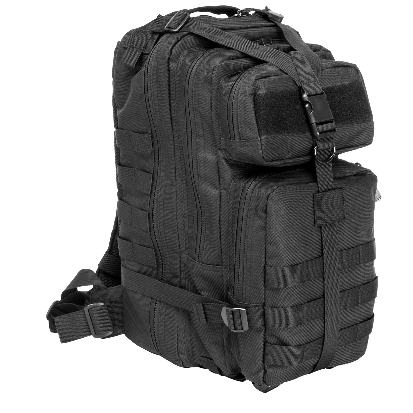 "VISM by NcSTAR Small Backpack shoulders the load, G.I.-style. Lightweight, easy to carry and comfortable to wear, with plenty of room for essentials. And, it has plenty of MOLLE straps for attachment. And it's hydration-compatible. It may be small in stature, but this Combat Pack shows up huge when you need it.The details:Rugged PVC construction 1,250 cu. in. of storage space in total Roomy 17 x 8 3/4 x 4 1/2"" main compartment with zipper compartment Middle compartment with internal pocket and 2 mesh pouches Top and bottom front compartments for extras. Bottom compartment has MOLLE straps Padded hydration bladder compartment (bladder not included) Adjustable compression straps help stabilize the load Adjustable padded shoulder straps with metal D-rings Adjustable sternum and waist straps Heavy-duty carry straps on top. Imported.State Color, as available in the Shopping Cart. - $34.99"