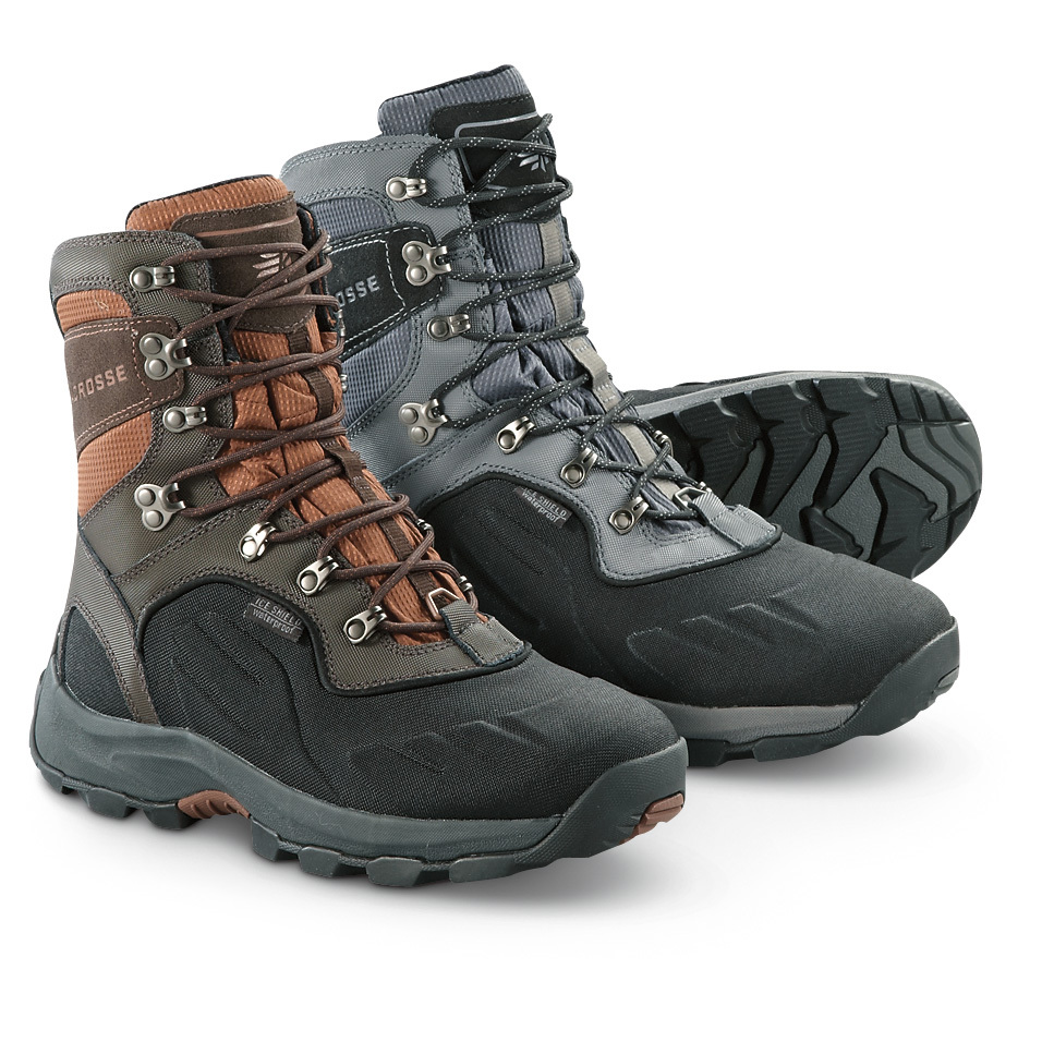 "LaCrosse 7"" Onalaska Lace-up WATERPROOF 800 gram Thinsulate Ultra Insulation Pac Boots. Lightweight design, HEAVYWEIGHT warmth! Fear no winter! With these LaCrosse Onalaska 800 gram Insulated Boots, you can lace up and go in just about any weather... even down to -100 degreesF! Plus, they're noticeably lighter than most Pac Boots... just under 30 ozs. each... yet they still manage to pack in 100% waterproof protection and effective, heat-trapping insulation! Abrasion-resistant leather and lightweight nylon uppers 100% waterproof construction to keep your feet dry and happy 800 gram Thinsulate Ultra Insulation for sure warmth Rated for temps down to -100 degreesF Trempalo outsole delivers athletic performance and superior traction on snow and ice Ice Shield technology provides insulating warmth and waterproof protection by compressing 13mm foam down to 4mm Thick, cushioning EVA midsole helps reduce foot fatigue Moisture-wicking comfort collar padding prevents chafing Each approx. 7"" h., 30 ozs. State Color and Size, as available in the Shopping Cart.!!! Limited Quantities !!! - $99.99"