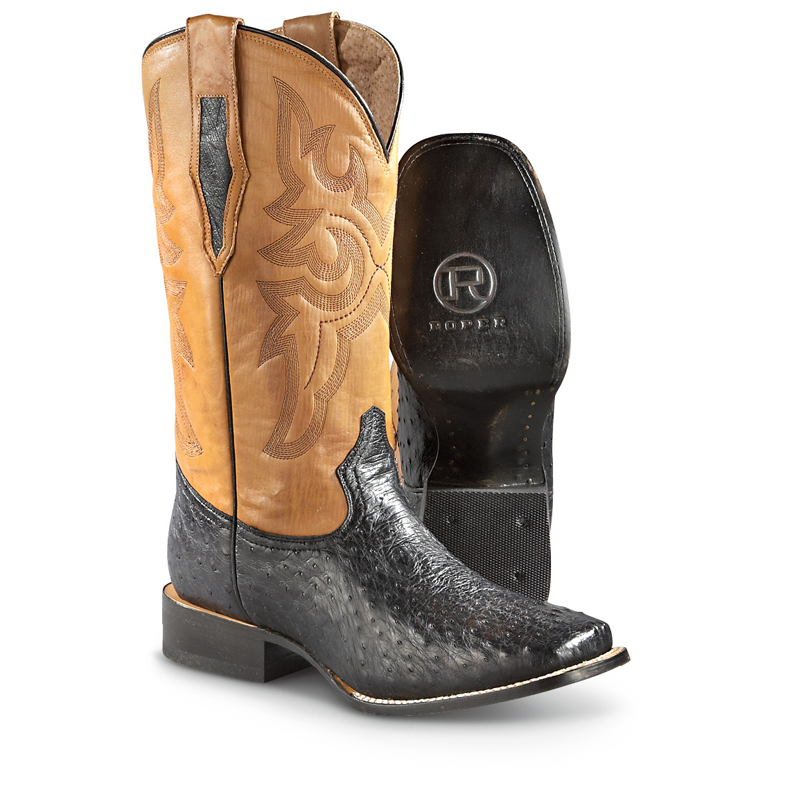 Roper Square Toe Exotic Neck Ostrich Western Leather Boots are SO comfortable. BIG BUCKS OFF! Walk tall like an ostrich! Feast your eyeballs on these authentic Full-quill Neck Ostrich Cowboy Boots. And the foot here is 100% ostrich... a rugged leather, noted for incredible strength. Our buying power takes BIG BUCKS OFF the usual in-store price tag! Just the kicks for country line dancing, animal auctions, rodeos and painting the town!Down that happy trail: Exotic full-quill neck ostrich leather foot Leather shaft with Western accents Cushioned footbed for shock absorption and all-day comfort Roomy square toe Long-lasting lemonwood peg and brass nail construction Leather outsole lasts many a mile Dual pull-on loops. State Size, as available in the Shopping Cart below. Medium width. Treat your feet to the real deal!!!! Limited Quantities !!! - $129.99