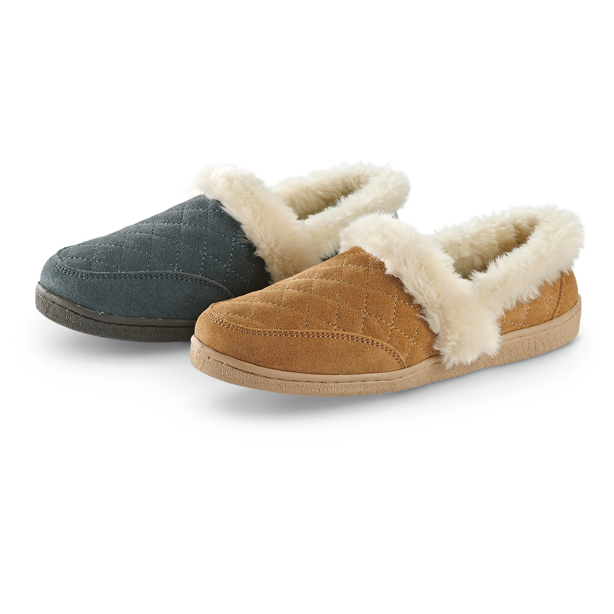 "Women's Clarks Quilted Slippers are here FOR LESS! It's time to retire your old slippers, because these are ridiculously comfortable. They're so cozy, you won't want to wear anything else on your feet! The soft lining feels just like real fur for a luxurious look and feel. Plenty of spring-in-your-step cushioning, too. Treat yourself to BIG SAVINGS when you shop The Guide! Suede leather uppers with quilted stitching Plush fur-like lining Durable indoor / outdoor outsole Cushioned foam insole Each approx. 3""h., 5 ozs. State Color and Size, as available in the Shopping Cart. - $19.99"