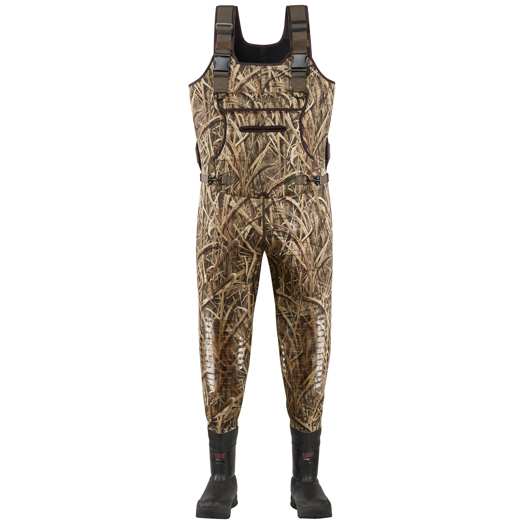 Lacrosse 1,000 Gram Thinsulate Ultra Swamp Tuff Pro Waders offer topnotch dependability with the comfort and warmth to match! The right stuff for the wet stuff! Swamp Tuff Waders keep you dry, comfortable and warm as you slog through unforgiving wetlands. Its stretchy 3.5mm neoprene is put together the LaCrosse way, with double-stitched seams and a polyurethane protective coating in the knees and seat for leak-proof dependability.Features: Heavyweight 5mm fleece-lined neoprene upper 3.5mm neoprene boot bottoms with 1,000 gram Thinsulate Ultra Insulation 100% WATERPROOF Swamp Tuff low lug outsole for topnotch traction Lacrosse's Brush Tuff bi-directional material is abrasion resistant Armor Weld liquid rubber protective coating on double stitched seams for durability Polyurethane protective coating on knees and seat VELCRO Brand straps and buckle create a belt when folded down Removable rollout shell pouch Rollout game bag Top loading pocket, waterproof front pocket and hand warmer Removable waterproof internal pocket Detachable waist belt for an adjustable fit Contoured ankle-fit design to prevent heel slippage.State Color and Size, as available in the Shopping Cart. - $299.99