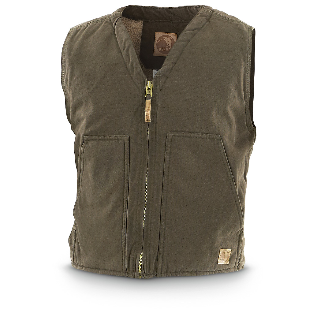 Berne Washed Cotton Vest. Warm, comfortable and incredibly durable! Available in BIG sizes. Keep your body heat locked in with this Berne Washed Cotton Vest! You'll appreciate the rugged toughness of the 100% washed duck cotton outer shell... it's been engineered for years of wear so you won't have to replace it in a month. Plus, the heavyweight sherpa lining offers reliable all-day warmth!Tops it off: 12-oz. 100% washed cotton duck shell Heavyweight sherpa lining Large front patch pockets Extended back for extra warmth 3 inside pockets Reinforced bar tacks at all stress points Heavy-duty brass front zipperMachine wash / dry. Imported. State Color and Size, as available in the Shopping Cart. - $49.99