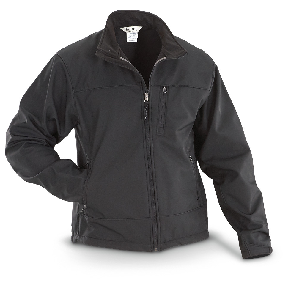 Berne Eigler Softshell Jacket... beats the cold, wet and wind to keep you comfortable! For work or after hours, you can't go wrong with this Softshell Jacket! It's water and wind resistant, while remaining breathable so you stay warm no matter the weather. 8-oz. 100% polyester softshell bonded to micro fleece Water resistant Wind resistant Breathable Front angled zip pockets Left zip chest pocket Elastic waist cord with toggles Full-zip front Adjustable hook-and-loop cuffs Extended tail State Size, as available in the Shopping Cart. - $39.99