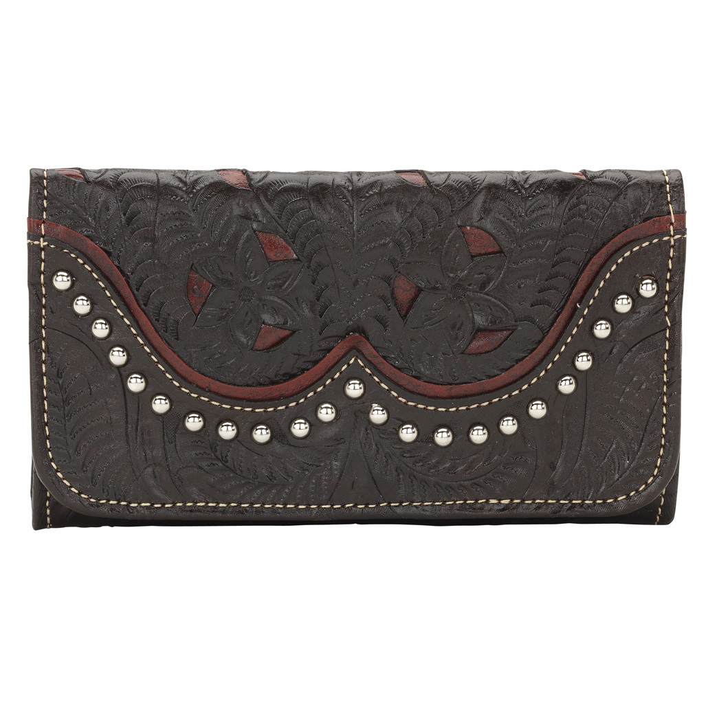"Annie's Secret Collection Women's Tri-Fold Wallet from American West. Western-inspired style that bucks the trends, because you'd rather blaze your own trails. Like everything American West makes, the Tri-Fold Wallet from their Annie's Secret Collection is made by hand from genuine leather, one at a time, to last a lifetime.Style you can bank on:Hand-tooled vegetable tanned distressed crimson leather and chocolate leather Accented with smooth silver spots Fully leather lined Flap for checkbook 13 Card slots 5 Compartments Zipper coin pocket on back 7 1/2 x 4"" - $84.99"