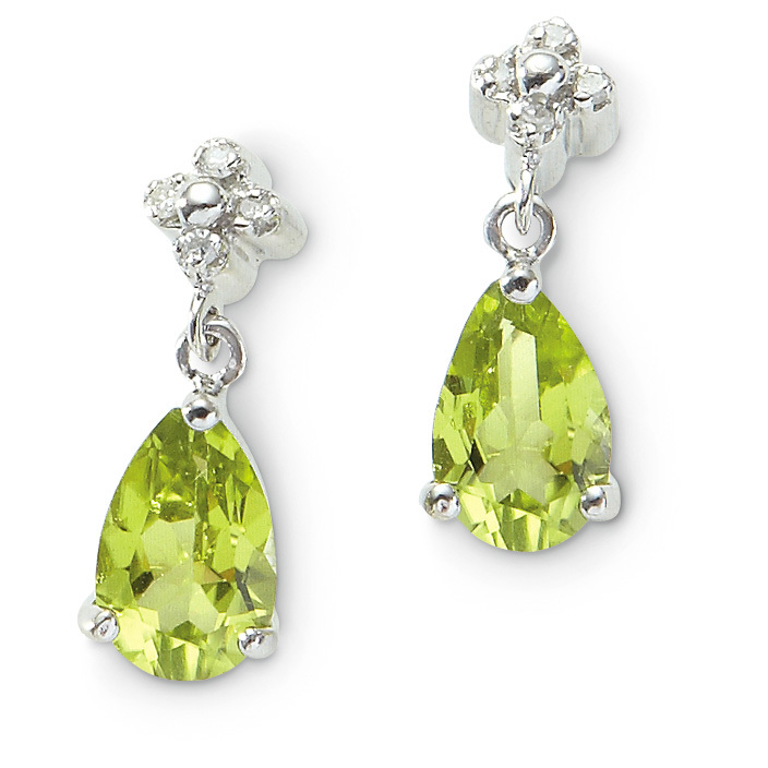 10k White Gold Peridot Diamond Earrings. As she turns her head, the colorful teardrop-shaped peridot dangles from a diamond-accented bale in these lovely Earrings. Exquisitely fashioned in 10k white gold. Post style with butterfly backs 10k white gold prong setting Teardrop-shape peridot gemstones are 5 x 7mm Bale features 4 accent diamonds.!!! Limited Quantities !!! - $139.99