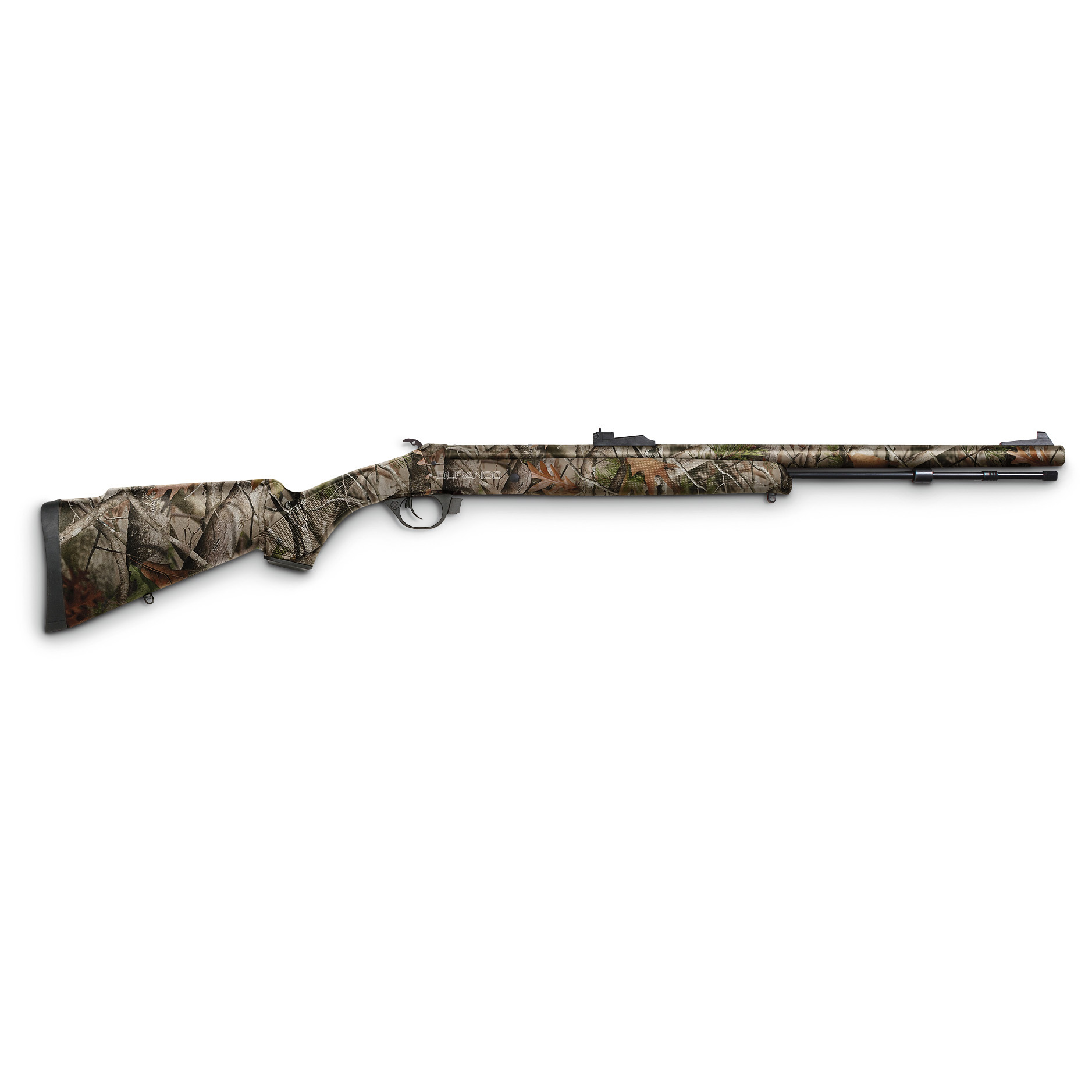 "Traditions Durango Muzzleloader Rifle, .50 Caliber 24"" Barrel, Full Camo is compact and easy to shoot! Black powder shooters, rejoice! This compact, lightweight Rifle checks in at only 6 lbs, 4 ozs. and is one smooth shooter. The Speed Load System allows for a bullet that is perfectly centered with the barrel rifling for more consistent groups. And you'll get fast-release break-open action with the push of a button. Best of all, the Dual Safety System allows you to break open the rifle and remove your live primer without having to depress your hammer. Featuring a 24""l. barrel, use the Durango for shots in dense brush or long shots across fields. 209 shotgun primer ignition Includes sling swivel studs, solid aluminum ramrod and adjustable sights 1 in 28"" twist Accepts magnum charge of up to 150 grains powder Overall length is 40"". Crack one open today... order yours now!!!! Limited Quantities !!! - $329.99"