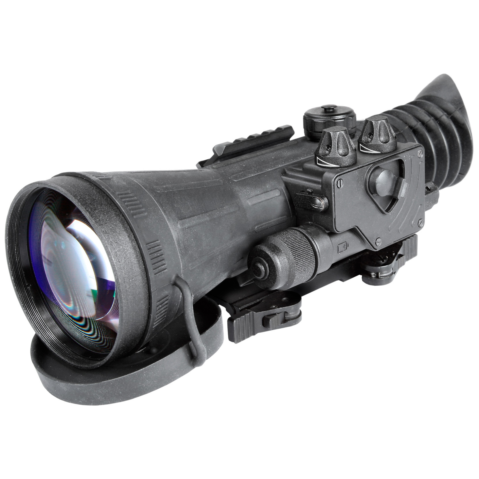 "Armasight Vulcan 4.5X Gen 2+ ID Night Vision Rifle Scope. Small in size but huge in performance, this Vulcan 4.5X Gen 2+ ID delivers stunning night imaging without unbalancing your rifle. It weighs just 33 ozs., but still packs a high-resolution image tube, multi-coated all-glass lenses and an internally adjustable fine reticle that makes precise shot placement incredibly easy.Mount it to your rifle's Weaver or Picatinny rail in seconds. No tools. No time wasted. Then let the Vulcan do its thing, pulling your target out of the shadows with a Gen 2+ ID image tube and serving it up in stunning clarity. Ideal for predator hunters, tactical marksmen and security personnel. Features:Wide array of IIT configurations 4.5X magnification Shockproof, all-glass IR transmission multi-coated optics Bright light cut-off Illuminated reticle with brightness adjustment Variable gain control (optional) Wireless remote control Detachable long-range infrared illuminator Waterproof design Low battery indicator Quick-release mount Mounts to standard Weaver rails Runs on 1 CR123A battery (included) or 1 AA battery (not included) Includes lens cap, carrying case, battery adapter, and lens tissue Measures 3.9 x 3.2 x 8.6""l Weighs 2.1 lbs. Specifications:IIT generation: Gen 2+ ID Resolution: 47-54 lp / mm Exit pupil diameter: 7mm Eye relief: 45mm Windage and elevation adjustment: 1/2"" MOA Lens system: F1.54, F108 mm 9 degrees F.O.V. Diopter adjustment: -4 to +4 Controls: direct Battery life: 50 hours (CR123A) or 46 hours (AA) Operating temperature: -40 degrees to 122 degrees F. Storage temperature: -50 degrees to 158 degrees F. - $2,614.99"