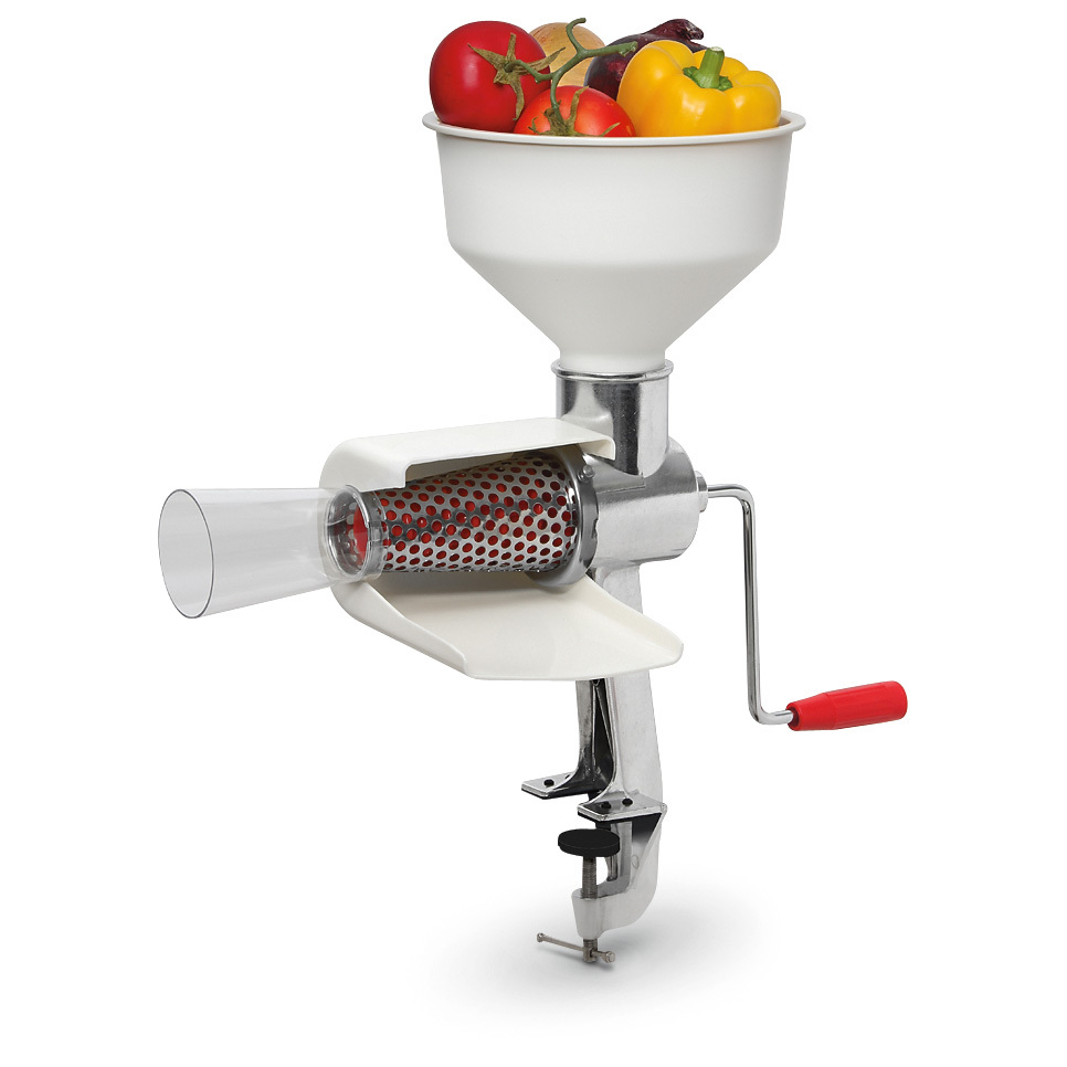 "Hand-operated Food Strainer separates skins and seeds. Simplify homemade tasks such as making apple or tomato juice. Hand-crank Food Strainer effortlessly makes great sauces, purees, juices and jams... all without painstaking peeling or coring. Instantly separates fruit and vegetable puree from unwanted skins, stems and seeds. Simply put fruits or veggies in the hopper. Turn the handle. And let the Strainer go to work for you. New screen design for easy installation / removal Stainless steel screen won't rust, resists wear Extended waste funnel Sealed steel drive shaft Rubber insulated mounting clamp protects counters Fits counter tops 3/4"" x 1 7/8"" 6 1/2 x 14 x 19 1/4""h., 7 lbs. - $44.99"