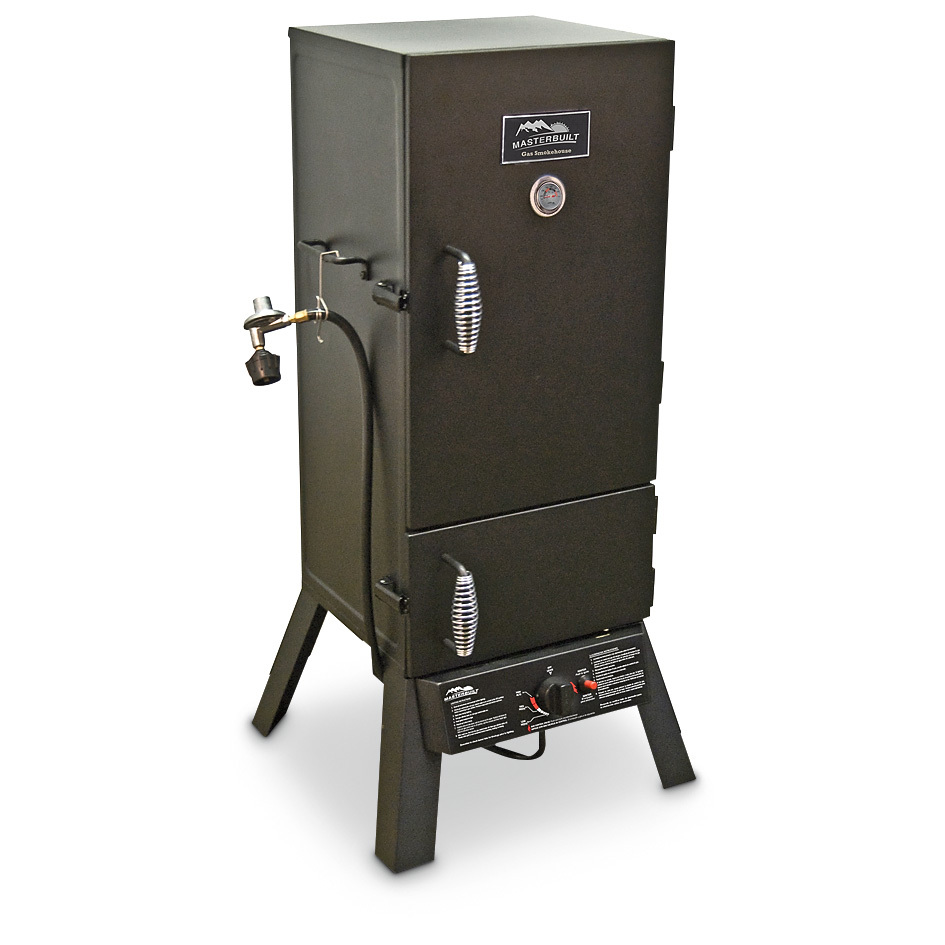 "Masterbuilt 30"" 2-door Vertical Gas Smoker makes it push-button easy to be king of backyard BBQ! Still messing with charcoal? Clean up your act with this Masterbuilt 2-door Vertical Gas Smoker. It runs on propane gas and has simple, push-button ignition for fast, easy start-up and operation. And, with more than 700 square inches of cooking surface, it's big enough to handle your expanding needs. After all, everything tastes better when it's smoked! Details: 15,400 BTUs of sweet smokin' heat Push-button ignition and built-in temperature gauge Porcelain-coated wood chip tray and water pan Locking door with cool-touch wire handle helps keep heat in Includes Type 1 regulator and hose Assembly required Measures approx. 20 1/2"" x 20"" x 43 1/2""h., weighs approx. 58 lbs. !!! Limited Quantities !!! - $199.99"