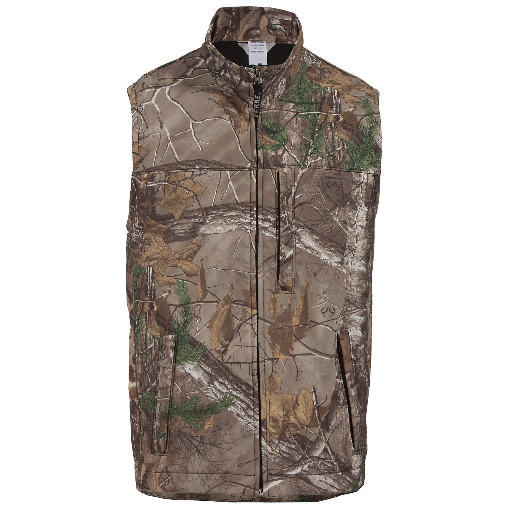 Berne Weekender Softshell Realtree Xtra Hunting Vest. Made for dry, warm comfort, and the stealth edge! Berne quality with loads of stretch, weather-resistant comfort, and effective Realtree camo concealment:Polyester / Spandex shell is tough, durable, stretchy and quiet Comfortable 100% microfleece lining Wind-resistant, water-resistant, and breathable Full zip front with zip-through collar Elastic waist cord with toggles Extended tail for added coverage in the back Zipper hand pockets and zipper chest pocket. Imported. State Size, as available in the Shopping Cart. - $54.99