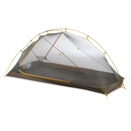 Camp and Hike The North Face Mica FL 2 tent is an ultralight, 2-person tent with generous headroom. It also has an easy-access side door with a dry entry and nice size vestibule to store gear. - $279.93