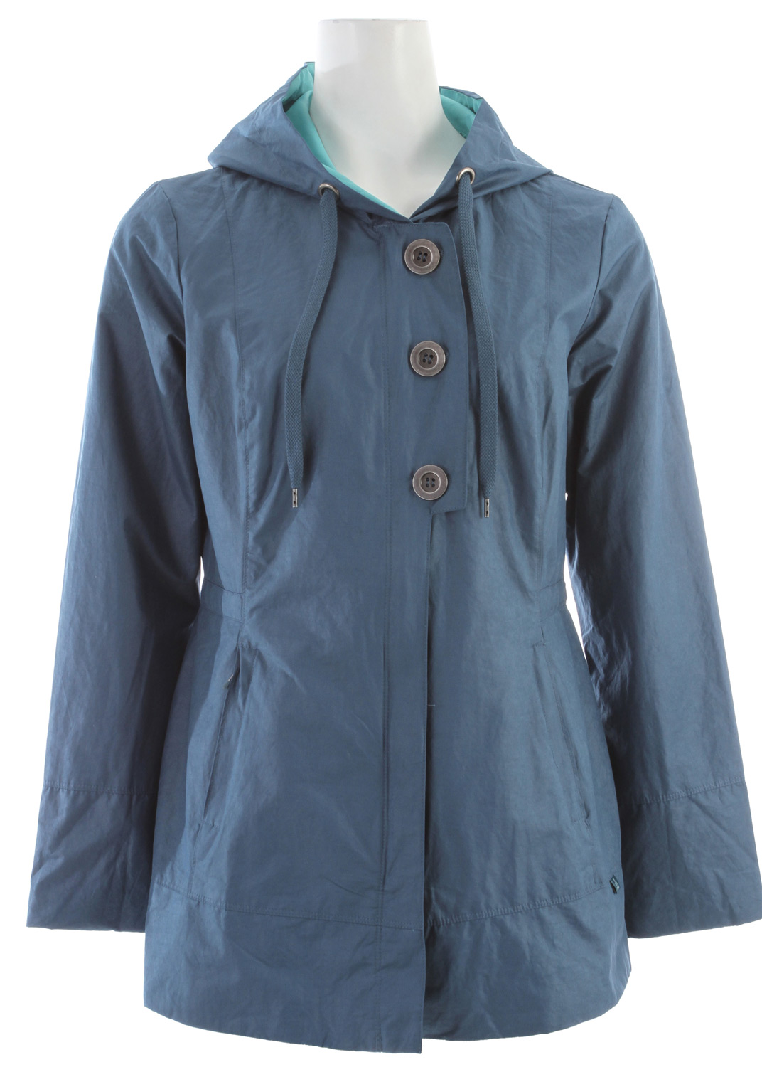 Key Features of the Prana Abby Jacket: 53% cotton/31% polyester/16% Nylon Lining: 100% polyester Performance coated cotton woven Lined in contrast with no insulation Button detail at center front flap with zipper underneath Front pockets with zippers Relaxed fit - $98.95