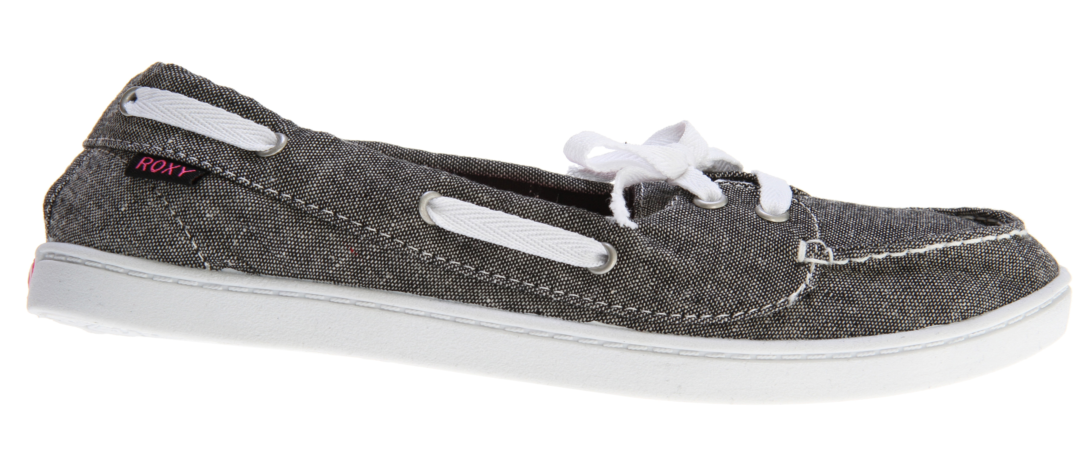 Surf Key Features of the Roxy Ahoy Shoes: Chambray/linen/or twill uppers with cotton twill laces and metal eyelets Canvas lining and logo printed sock Soft padded insole for comfort Flexible TPR injected outsole - $26.95