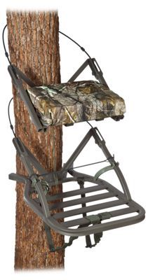 The Summit Openshot SD Climbing Treestand is designed for hunters who prefer mobility and silence. Features Summit?s Dead Metal Sound Deadening Technology, and at only 15 pounds, this ultra-compact design still offers plenty of comfort. Thick padded seat folds up when you want to stand against the tree. Features patented Quick. Draw cables and Rapid. Climb stirrups. Includes a full-body safety harness. Seat: 18inch. Inside Climber Frame: 19.75inch x 14inch. Platform: 20inch x 24.75inch. Weight: 15 lbs. Maximum weight capacity: 300 lbs. Manufacturer model #: 81115.Designed for hunters who prefer mobility and silence. Dead Metal Sound Deadening Technology. Ultra-compact design still offers plenty of comfort. Thick padded seat folds up when you want to stand. Patented Quick. Draw cables. Rapid. Climb stirrups. Includes a full-body safety harness. Weight: 15 lbs. Maximum weight capacity: 300 lbs. - $259.99