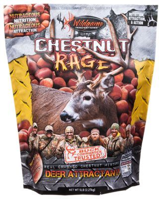 Contains crushed chestnuts deer cannot refuse. High protein, nutrient filled blend. Keeps deer herd in superb health. Chestnut Rage Deer Attractant contains a mixture of ingredients that deer cannot refuse. Improve and maintain the health of your deer herd by feeding them Wildgame Innovations' high protein, nutrient filled blend of crushed chestnuts, extruded rice bran and other proprietary ingredients. When used repeatedly, Wildgame Innovations Chestnut Rage will keep deer hanging around in the same area for extended periods. Manufacturer model #: 380. - $14.99