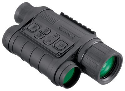 Enjoy a great viewing experience exploring the unknown in low-light conditions with the Equinox Z Digital Night Vision Monocular from Bushnell. With its high-performance glass objectives, zoom capability, built-in infrared illuminator, and extremely long battery life, the Equinox Z offers outstanding optical clarity day or night. Great for camping, caving, scouting game, night fishing, surveillance, and more, this powerful monocular eliminates daylight limitations on your activity. High performance monocular also offers adjustable IR brightness, tripod-mountability, video out, 1?3x zoom, and a handy carry case. Powered by 4 AA batteries (not included).Advanced night vision monocular for outdoors enthusiasts. Clear infrared night viewing or color day viewing. Long distance night viewing with built-in infrared illuminator. Adjustable IR brightness. High performance glass objective1-3x zoom. Video out. Runs on 4 AA batteries (not included)Tripod mount. Carrying case - $319.99