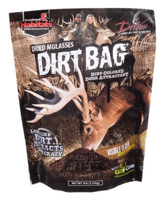 Hard to see, yet powerful deer attractant that looks like dirt. Looks and feels like dirt, tastes like molasses. Appeals to a deer's eyes and nose. Features Glo-Cote UV-enhanced visual attractant for enhanced attraction5 lb. bag. A powerful deer attractant with a color and texture resembling dirt, Dirt Bag Deer Attractant from Evolved Habitats looks like dirt but attracts deer like crazy. Appealing to a deer's eyes and nose, this blend features the taste and aroma of dried molasses to bring deer in. Mix also features Glo-Cote UV-enhanced visual attractant for enhanced attraction. 5 lb. bag.Manufacturer model #: 20716. - $11.99
