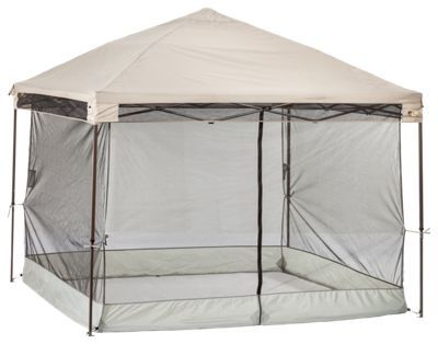 Block bugs and other airborne nuisances out of your instant canopy. Made of lightweight, fire-retardant, UV resistant, and rotproof no-see-um polyester mesh. Quickly secures to your canopy frame - easy to assemble clip system. Feature stake loops for securing room to the ground (stakes not included)Full length zippered main door. Heavy-duty floor skirt. Interior gear pockets for small items Comes with zippered storage bag for easy transport and storage. Keep bugs and other airborne pests out of your Bass Pro Shops Straight Leg Instant Canopy with this handy Screen Room. Made of lightweight, fire-retardant, UV resistant, and rotproof no-see-um polyester mesh, this room allows you to enjoy time under the canopy pest-free. Easy-to-install design secures quickly to your canopy frame thanks to an easy-to-assemble clip system and anchors down securely thanks to built-in stake loops (stakes not included). Heavy-duty floor skirt helps seal in enclosure from the ground up. Full length zippered main door. Features interior pockets for gear. Comes with zippered storage bag.Bass Pro Shops 10'x10' Straight Leg Canopy sold separately and can be found through item search for number 2074645Bass Pro Shops 12'x12' Straight Leg Canopy sold separately and can be found through item search for number 2074646 - $59.99