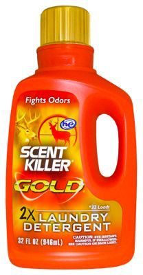 Expand your scent control efforts to the washing machine with Wildlife Research Center Scent Killer Gold Laundry Detergent. This ultra-premium formula features a multi-surfactant blend that encourages dirt, odors, and stains to release from hunting clothing while also adding concentrated odor fighting power. Concentrated formula washes twice as many loads per ounce as regular Scent Killer Liquid Clothing Wash. A special H-E Formula, this detergent contains no U.V. brighteners. Washes up to 32 loads. Manufacturer model #: 1249.Ultra premium laundry detergent with Scent Killer Gold scent control power. Serious odor fighting power. Multi-surfactant blend - encourages dirt and odors to release from clothing. Concentrated formula washes twice as many loads per ounce. Special H-E formula with no UV brighteners - $14.99