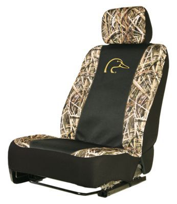 Great looking truck or SUV seat protection for outdoorsmen. Durable polyester construction - water and dirt resistant. Snug, custom fit - designed to cling to the contours on most OEM vehicle seats. Provides access to built-in seat pockets and electronic controls. Compatible with most side seat airbags. Comes with headrest cover. Mossy Oak Shadow Grass Blades and black with Ducks Unlimited logo. Sold individually - 1 seat cover. Protect your rig's bucket seats and show off your love for the outdoors with the Signature Automotive Ducks Unlimited Low-Back Seat Cover. Made of a heavy-duty polyester, this water- and dirt resistant cover provides a great look for your truck or SUV and protects the seat's finish. Designed to fit the contours of most OEM vehicle seats, this great-looking camo seat cover does not block access to built-in seat pockets and electronic controls. Sold individually. Imported.Manufacturer model #: DSC7001. - $39.99