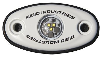 Rigid Industries A-Series LED accessory light is a small light with a large projection: 400 lumens. This ultra-versatile accessory light is fully submersible for freshwater use, and can be trusted to last with its polycarbonate lens with UV/anti-scratch coating. The A-Series comes with both radius tube and flat surface rubber mounts that allow for side or bottom wire exit for the ultimate in LED accessory lighting. Use these power lights on the inside gunnel of a boat, in storage compartments, your boat trailer for extra guidance at night, and in the engine bay of a vehicle or boat for clear visibility. Made in USA.Fully submersible cast aluminum housing. Single: .2 amps/10-28V/3W total draw ? 200 lumen. Pair: .3 amps/10-28V/4W total draw ? 400 lumen. Polycarbonate lens with UV/anti-scratch coating. Reverse voltage protected - $154.99