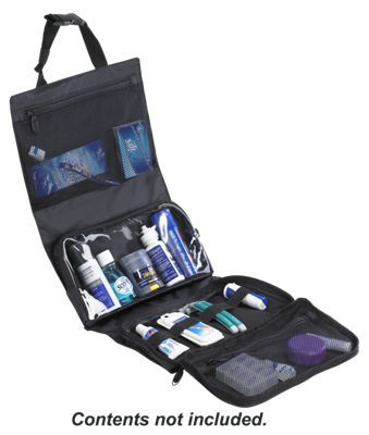 The Lewis N. Clark Hanging Toiletry Kit offers big storage in a compact 8inch x 11.5inch x 2inch case and is rugged enough to handle your most remote camp and extreme outdoor lifestyle.4 panels with multiple pockets of varying sizes offer a wide range of packing versatility, including perfectly sized compartments for travel-friendly 3 oz. bottles. Adjustable fasteners keep the kit closed and allows for either roll-up or flat-fold storage in your pack or suitcase. The hanging strap accommodates most hooks and towel bars. The Lewis N. Clark hanging toiletry kit boasts roomy open dimensions of 23.5inch x 10.25inch x 1inch and is ready to take your toiletries on the long haul. Manufacturer model #: 1592.Hanging toiletry kit. Multiple pockets and compartments. Adjustable fastener allows for roll-up or flat-fold storage - $14.99