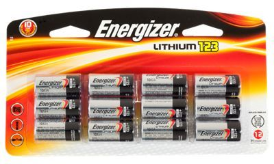 Energizer Lithium 123 Batteries are a perfect choice to power all your 123-compatible electronics, from cameras, flash units, flashlights, night vision devices, lanterns and other high-tech gear. These 3-volt 123 powerpacks tolerate extreme temperatures from -40?F up to 140?F and last up to 10 years unused. This Energizer 123 12-pk is designed to outlast the competition. Energizer lithium 123 batteries readily replace 5018LC, CR123, CR123A, CR17345 and EL123.Long-Lasting 123 batteries3 volts of reliable, long-lasting power. Temperature tolerance of -40?F up to 140?FUp to 10 years of reliable storage life. Leak resistant construction - $29.99
