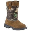 Rugged protection for growing feet. Generous straps for easy pull-on. Suede leather uppers with camo nylon shaft panel. Breathable nylex linings. Removable PU insoles for cushioned comfort and support. Rubber outsoles. This tough Camo Welly Boot for youth by Red. Head combines a great look with rugged protection for growing feet. Perfect for outside work or play, the smooth nylex linings provide breathable comfort, while the removable PU insoles cushion every step. Rubber outsoles have a traditional tread pattern for sure-footed traction. Suede leather uppers feature a large Mossy Oak Break-Up panel. Straps are generously sized for easy pull-on. Average weight 3 lbs. Imported. - $39.99