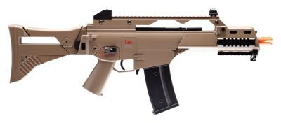 Semi or full-automatic. Shoots up to 1000 rds. per minute. High capacity 400 round magazine. Integrated accessory rail. Collapsible and foldable stock. Shoots 6mm BBs up to 330 fps. With the H&K G36X Airsoft Rifle you have the choice to shoot either semi-auto or full automatic with the flip of a switch; and you won?t run out of ammo too quickly with its generous 400 round capacity. The G36X Airsoft is a its true-to-life replica of H&K?s G36 assault rifle, adapted by the German Army in 1997. Powered by a rechargeable 8.4V Ni. MH battery, the Airsoft G36X is capable of shooting up to 1000 rounds of 6mm BBs per minute on full-auto. (Battery charger included.) The H&K G36X Airsoft Rifle features a folding stock for easy mobility in urban gaming scenarios, and an integrated tactical rail allows you to attach a variety of aftermarket lighting and sight accessories. A high-quality polymer fiber body is made to endure hard play. Shoots 6mm airsoft BBs up to 330 fps. Manufacturer model #: 2273023. - $139.99