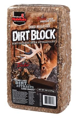 Powerful attractant in a long lasting block form. Looks and feels like dirt, tastes like molasses. Appeals to a deer's eyes and nose. Features Glo-Cote UV-enhanced visual attractant for enhanced attraction5 lb. block. A powerful deer attractant block with a color and texture resembling dirt, Dirt Bag Deer Attractant from Evolved Habitats looks like dirt but attracts deer like crazy. Appealing to a deer's eyes and nose, this blend features the taste and aroma of dried molasses to bring deer in. Mix also features Glo-Cote UV-enhanced visual attractant for enhanced attraction. Long lasting 5 lb. block.Manufacturer model #: 20717. - $11.99