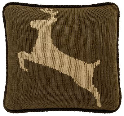 Classic corduroy, warm stripes, chenille, knit, and faux leather combine to create the inviting Wilderness Ridge Collection. Measuring 17inch x 17inch, the Knit Deer Throw Pillow enlivens any decor setting with a cozy brownhue. This decorative pillow features a leaping tandeer, trimmed with brownpiping. Cover: 55% viscose/45% polyester. Filling: 100% polyester. Dry clean only. Imported. Manufacturer style #: PL5002-DE.Brown knit throw pillow accented with a tandeer. Brown piping. Measures 17inch x 17inch. Viscose/polyester cover with polyester filling. Dry clean only. Shop the entire Wilderness Ridge Collection - $44.99